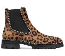 Studded Leopard-print Calf Hair Ankle Boots Animal Print