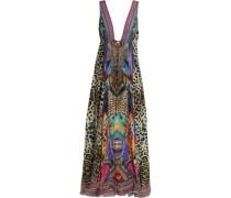 Crystal-embellished Printed Silk Crepe De Chine Maxi Dress Violet Size 14