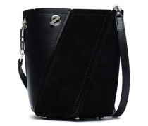 Whipstitch-trimmed leather and suede bucket bag