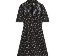 Lace-paneled Floral-print Fil Coupé Mini Shirt Dress Black
