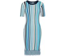 Frayed striped ribbed-knit dress
