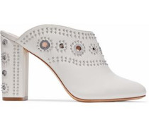 Ramona eyelet-embellished studded leather mules