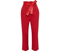 Woman Andres Cropped Belted Crepe Straight-leg Pants Crimson