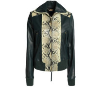 Snake-effect and smooth leather jacket
