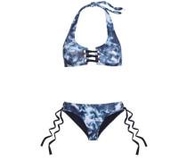 McKinley lace-up tie-dyed halterneck bikini