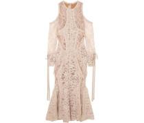 Cold-shoulder Georgette-trimmed Corded Lace Midi Dress Neutral