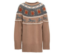 Crochet-paneled Embellished Jacquard-knit Sweater Sand