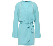 Lace-trimmed Micro Modal-blend Jersey Robe Turquoise