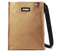 Woman Leather-trimmed Canvas Shoulder Bag Camel