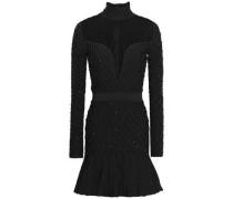 Tulle-paneled Embellished Smocked Stretch-knit Mini Dress Black