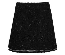 Chain-trimmed bouclé-tweed mini skirt