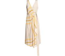 Printed draped silk midi dress