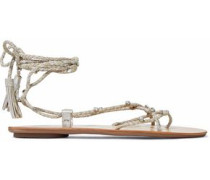 Bo crystal-embellished braided metallic suede sandals
