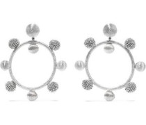 Gold-tone, Cord And Bead Hoop Clip Earrings Silver Size --