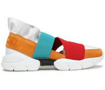 Woman Ruffle-trimmed Color-block Leather, Suede, And Scuba Sneakers Red