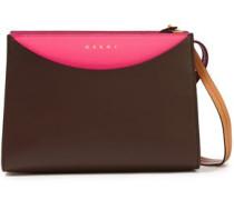 Woman Color-block Textured-leather Shoulder Bag Brown