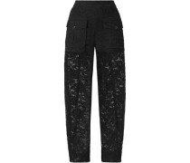 Cotton-blend Lace Straight-leg Pants Black