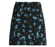 Floral-print wool-blend mini skirt