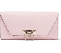 Woman Demilune Studded Leather Clutch Baby Pink