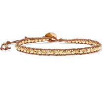 18-karat Gold-plated Sterling Silver, Bead And Cord Bracelet Gold Size --