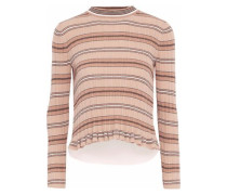 Layered striped ribbed-knit and poplin cotton sweater