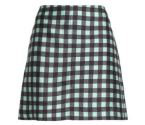 Checked wool and silk-blend mini skirt