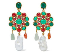 Woman Gold-tone, Freshwater Pearl, Emerald And Resin Clip Earrings Gold