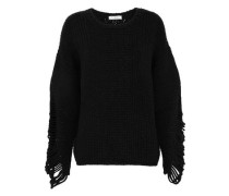 Distressed ribbed wool-blend sweater