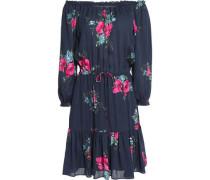 Marx off-the-shoulder gathered floral-print silk crepe de chine mini dress