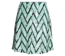 Sequin and bead-embellished crepe de chine mini skirt