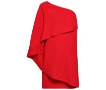 One-shoulder Layered Crepe Mini Dress Tomato Red