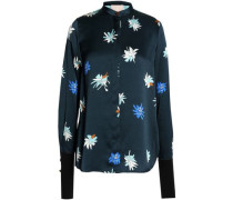 Floral-printed silk-satin top