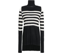 Cutout Striped Silk And Cashmere-blend Turtleneck Sweater Black