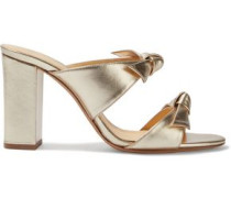Knotted Metallic Leather Mules Gold