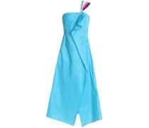 Asymmetrical one-shoulder taffeta midi dress