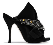 Knotted embellished satin mules