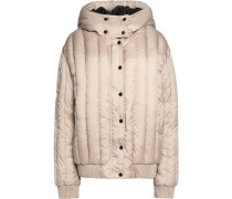 Appliquéd quilted shell hooded coat