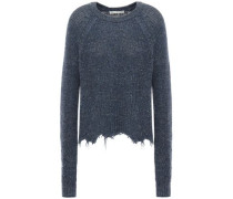 Distressed Cotton And Silk-blend Sweater Navy