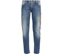 Embroidered faded slim-leg jeans