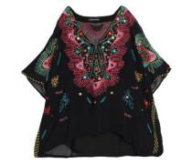 Crystal-embellished embroidered crepon blouse