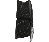 Asymmetric Metallic Fil Coupé Woven Mini Dress Black Size 0