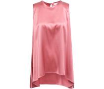 Bead-embellished Stretch-silk Satin Top Bubblegum