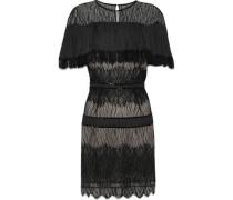 Crepe De Chine-paneled Bead-embellished Lace Mini Dress Black Size 12