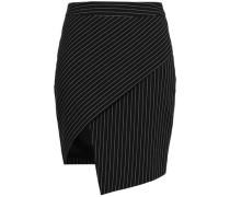 Pinstriped Woven Mini Skirt Black