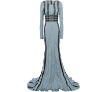 Lace-trimmed Crinkled Satin-twill Gown Light Blue