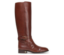 Woman Buckle-detailed Leather Knee Boots Brown