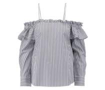 The Parker off-the-shoulder striped cotton-blend shirt