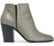 Croc-effect Leather Ankle Boots Mushroom
