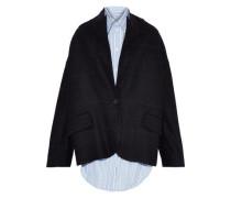 Layered Striped Cotton-poplin And Wool-blend Felt Jacket Black
