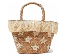 Fringed embroidered woven straw tote